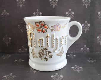 Vintage German Floral and Butterfly Mother Cup