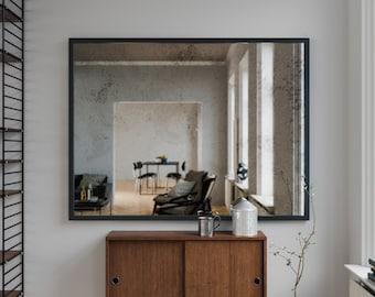 Belgian Antiqued Mirror 24 X 22 Hanging Large Frameless
