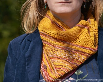 Merino wool cowl, Knitted cowl, Yellow cowl, Hand made cowl, Neck warmer
