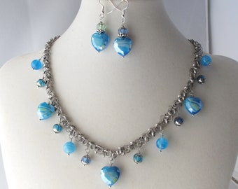 Blue Hearts Charm Necklace with Toggle Clasp