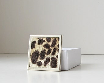 Animal print broche, broche carrée, bijoux de fausse fourrure, broche de fourrure velours
