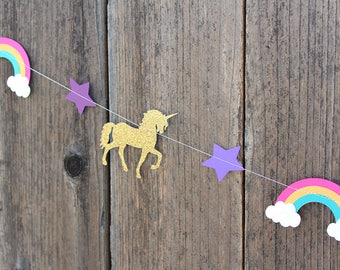 Rainbow Unicorn Party Garland (Brights)- Over the rainbow, Unicorn Party, I love Unicorns
