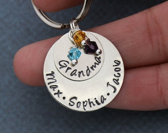 Grandma Keychain Childrens Names Keyring • Mom Keychain Name Custom Stamped Keychain • Family Gift from Kids Birthstone Keychain