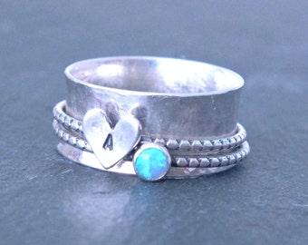Sterling Silver Spinner Ring, Hammered Spinner Ring, Opal Spinner Ring, Custom Spinner Ring, Initial Ring, Silver Heart Ring