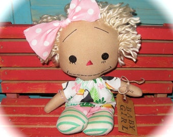 "Small 10"" Primitive Annie-Raggedy Ann-Blonde Rag Doll Girl-Mothers Day Gift- One of a Kind-BABY Girl"