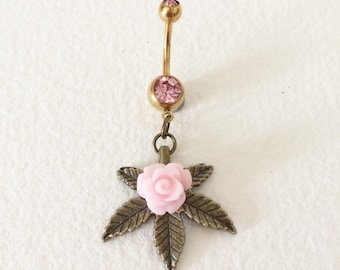 belly button ring, weed, cannabis,rose,marijuana, Belly Button Jewelry, cannabis piercing jewelry bellybutton ring wholesale PINK BRONZE MED