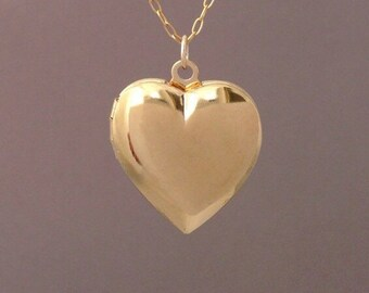 Large Gold Heart Locket Necklace also in Silver