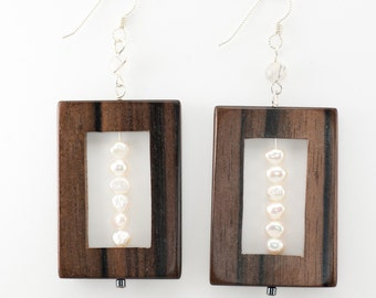 Wood Earrings, artistic, Eco Jewelry, Recycled jewelry, upcycled jewelry, architectural jewelry, eco friendly, bold jewelry, unique earrings