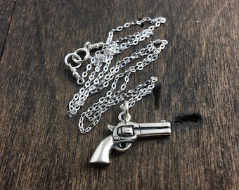 Revolver Pistol Necklace, Silver Necklace, Silver Revolver Necklace, Silver Pistol Necklace, Gun Necklace, Gun Jewelry