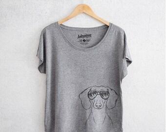 Hans the Dachshund - Tri-Blend Dolman Grey -  Dog Lover Gift, Weiner Dog