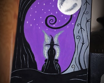 Original witch and her cauldron acrylic painting 18x11