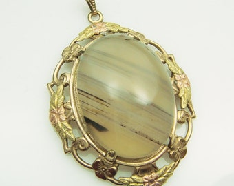 Art Deco Moss Agate Tri-Color GF Pendant