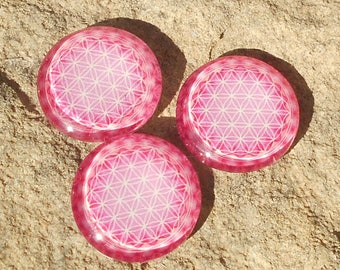 Pink glass cabochon 25 mm flower of life