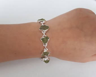 Raw  peridot bracelet,genuine rough gemstone, set in 92.5 sterling silver