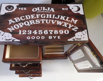 Pagan, Wicca. Witchcraft Ouija inspired wooden vintage jewellery box