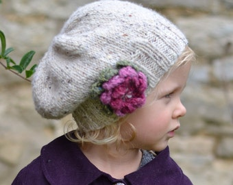 KNITTING PATTERN girls hats  'little petal' slouchy hat - baby to adult sizes