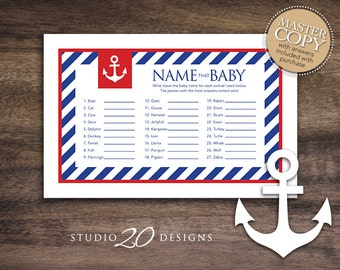 Instant Download Blue Red Nautical Baby Shower Games for Boy, Sailor Name That Baby Game, Baby Animal Game, Blue Anchor Baby Shower 26A