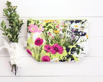 Floral, Zipper Pouch, Clutch, Bridesmaid, Women Clutch, Pencil Pouch, Summer Accessories, Project Bags, College, Teens, Women, Organize