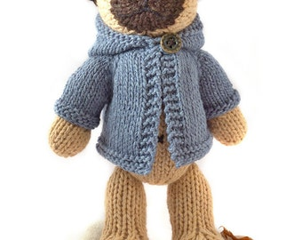 Pug with Anorak Knitting Pattern