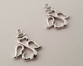 Silver Angel Charms - 10pcs. - Angel Charms -  Christian Charm - Open Angel Charm  -  Silver Angel Wings  -  Silver Angel Pendant