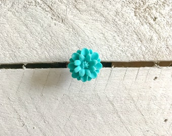 Turquoise Rose Flower Adjustable Ring, Rose Ring, Flower Ring, Statement Ring, Solitaire Ring, Adjustable Ring, Adjustable, Floral Print
