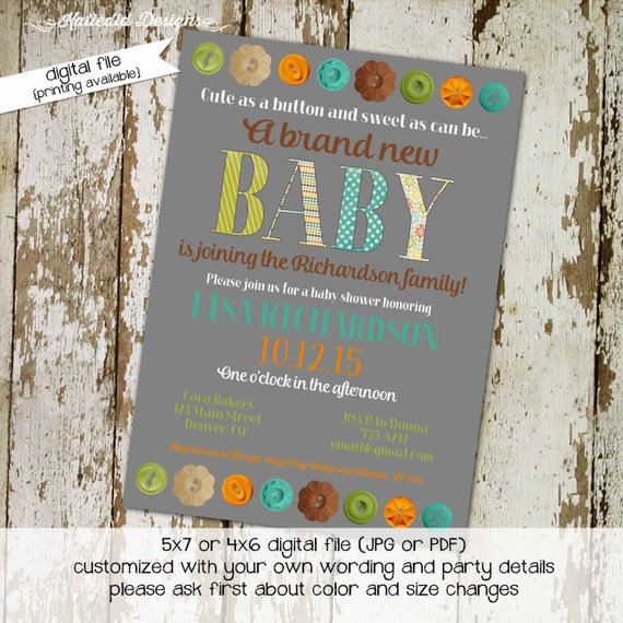 Button gender reveal invitation couples baby shower coed twins sprinkle sip see brunch diaper wipes oh cute neutral | 1451 Katiedid Designs