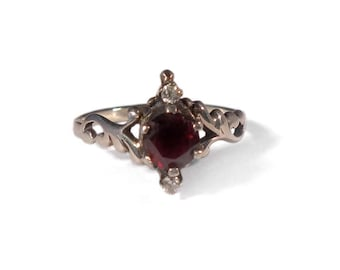 Vintage Sterling Ring Garnet Size 8.5