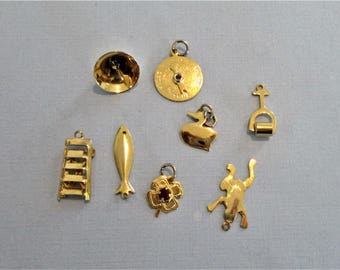 Lot of 8 Gold Plated Charms - Bracelet Charms - Antique Charms - Charm Destash - Charm Jewelry