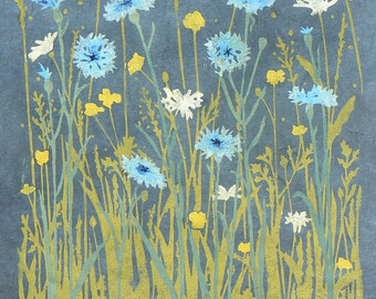 Cornflower Meadow lino cut print