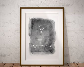 Pisces Constellation, Astrology, Pisces Wall Decor, Digital Download, Constellations, Zodiac Print, Stars, Pisces Print, Home Decor, Night