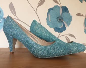 Seafoam Blue Heels - Court Shoes - Sea Blue - Bridal Shoes - Bridesmaid - Wedding - Prom - Customised Shoes - Glitter Shoes - UK Size 3-8