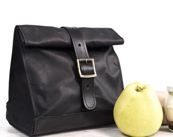 Black lunch bag. Lunch box. Waxed canvas and  leather lunch bag. School lunch bag. Vintage style lunch bag.