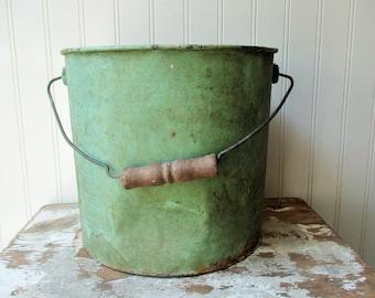 Perfectly shabby green bucket pail chippy dented crusty metal bucket rusty inside Farmhouse Rustic