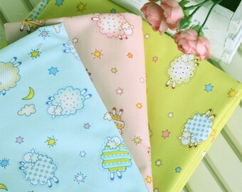 Oxford Cotton Fabric Cute Sheep in 3 Colors By The Yard