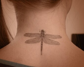 Dragonfly temporary tattoo. Fun insect tattoo. Temporary tattoo with dragonfly. Dragonfly summer tattoos.