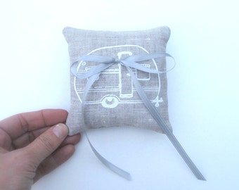 Ring Bearer Pillow, Wedding decor, Vintage Trailer Camper pillow, 4 x 4 inches - Choose your fabric and ink color