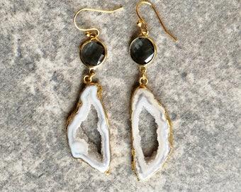 White Agate Slice Earrings / Agate Earrings / Handmade Earrings / Earrings / Agate Slice Earrings / Gift For Her / Birthday Gift
