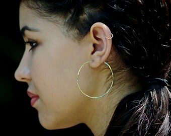 Gold Hoop Earrings - Large Gold Hoops - Two Inch - Hammered Gold Earrings Everyday Wear Handmade Classic