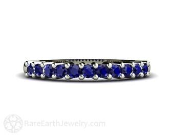 Blue Sapphire Band Blue Sapphire Ring Anniversary Band Wedding Ring 14K or 18K Gold September Birthstone