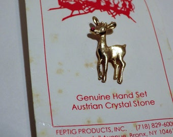1970s Vintage Rudolf Red Nose Reindeer Pin Austrian Crystal Original Packaging FREE USA SHIPPING