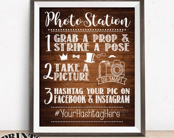 """Photo Station Sign, Hashtag Sign, Photobooth Tag Photo Facebook Social Media Instagram Wedding, PRINTABLE 8x10/16x20"""" Rustic Wood Style Sign"""