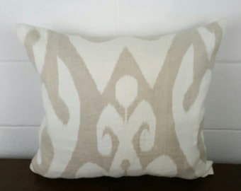 Soft beige and Cream Beach House Ikat Moroccan Bohemian Design Exclusive Cushion Pillow Cover by Peacock and Penny. 45cms x 45cms
