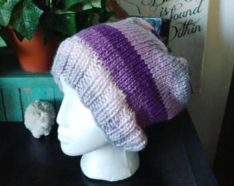 Purple hand knit stripe slouch hat