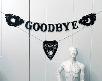 Ouija Planchette Banner // Papercut Letter Hanging Oracle Pennant