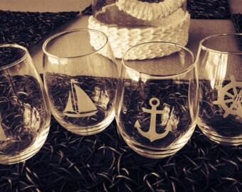 Set of 4 Nautical Stemless Wine Glasses