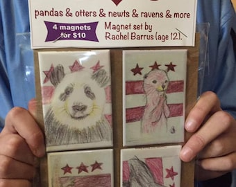 Four Magnets Featuring Animals from the National Zoo in Washington DC