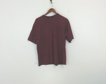 Large structure maroon pocket t shirt minimal, box cut, norm core, dad style,