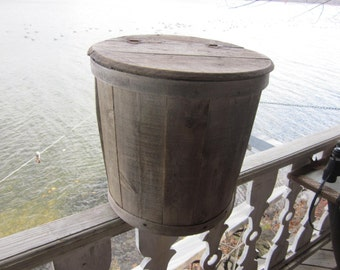 SALE.., huge wood barrel hinged lid, country store decor..maine farm find