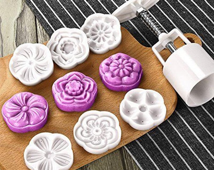 7 pc Cookie Moon Cake Mold Hand Press Cutter Set - 698532 - Banner Streamer Mold Party Biscuit Gumpaste Fondant Sugarcraft Sugar Cutter