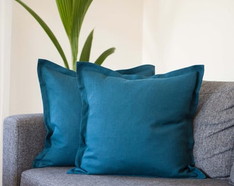 Teal throw pillow covers set of 2 from linen with 1 inch flange around from pure linen fabric